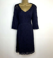 Monsoon Dress UK Siize 10 Navy Blue Floral Lace Shift