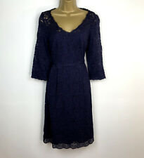 Monsoon Dress UK Siize 20 Navy Blue Floral Lace Shift Evening Party Holiday NEW