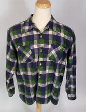 Vintage Nos 60s 70s Green Sears Flannel Work Shirt Xl/L Buffalo Plaid Rockabilly