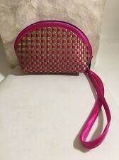 Cathayana Woven Satin Wristlets Change Purse Pink Red Chartreuse Purple