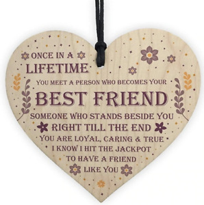 Wooden heart Shaped Friendship Plaque Sign Crafts Ornament Pendant