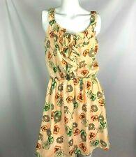 Paper Doll Women's Dress Size Medium Short Floral Peach Orange Green Ruffles