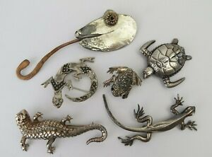 VTG collection lot 6 sterling silver jewelry brooch pins reptiles frog lizard