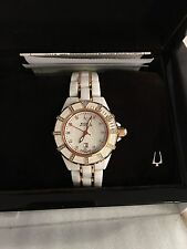 Bulova Accutron Mirador 65R140 - White Ceramic -Rose Gold/Diamonds - 36mm