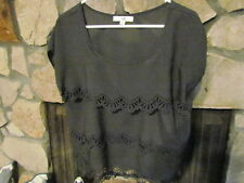 Women's Blouse Size M Black With Pretty Cut Out Designs Really Cute Style