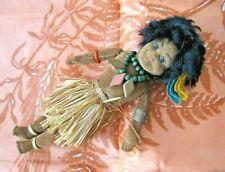 """Norah Wellings Brown Pacific Islander 9"""" Velvet Doll, 1930 Vintage"""