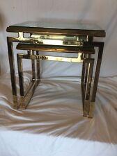 Milo Baughman Brass Glass Nesting End Tables Mid Century Modern Retro Vintage