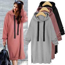 Women Long Sleeve Hoodies Sweatshirt Hooded Coat Pullover Jumper Tops Long Dress