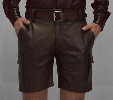Aus Weiches leder Cargo Ledershorts Farbe Antik,Leder Shorts,kurze lederhose 32W