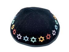"""JEWISH KIPPAH Yarmulke colorful Star of David Kippas Israel black Velvet 20cm/8"""""""