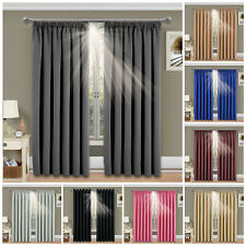 Thermal Blackout Curtains Ready Made Pencil Pleat Pair Curtains Panel +Tie Backs