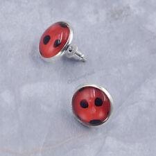 Lovely Ladybug Glass Pendant Earrings Ear Stud Cartoon Ladybird Design Jewelry
