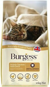 Burgess Dry Cat Food for Adult Cats Complete Rich In Chicken & Duck 10 kg NEW