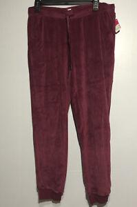 Xhilaration Womens Jogger Style Fuzzy Velour Burgundy lounge pants Size M New