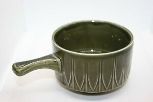 1 Vintage Soup Bowl Dark Green With Handle Cup Unbranded made in England.