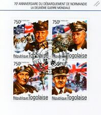 WWII D-Day Normandy Landings Stamp Sheet Eisenhower/Montgomery/Bradley/2014 Togo