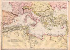 Mediterraneo. che mostra i cavi del telegrafo. BLACKIE 1882 VECCHIO ANTICO MAPPA Grafico