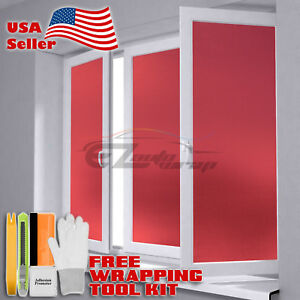 """48""""x72"""" Red Frosted Film Glass Home Bathroom Window Security Privacy Sticker"""