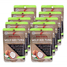 Premium Tuna Keto Snacks - No Carbs Wild Ahi Tuna in Coconut Oil Pack of 10 by