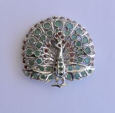 "Vintage Emerald & Ruby PEACOCK Brooch or Pendant in Silver~~2"" Wide & Long"