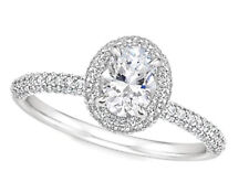 Oval Shape Diamond Engagement Ring 2.10 Carat GIA Certified 14k White Gold