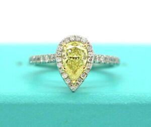$21K Tiffany Co Platinum VVS1 Fancy Intense Yellow Pear Shaped Halo Diamond Ring