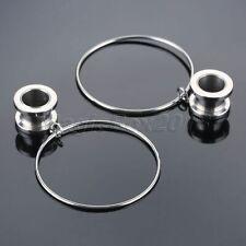 Hoop Pendant Ear Tunnel Stretcher Surgical Steel Metal Silvery Eyelet Gauge 10mm