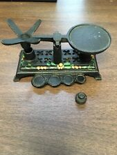 Vintage Cast Iron Mini Balance Scale Painted Decorations