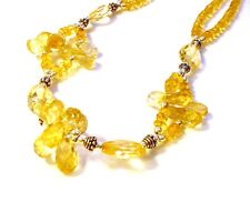 Large Fancy 925 Sterling Silver 200cttw Faceted Golden Citrine Necklace F72