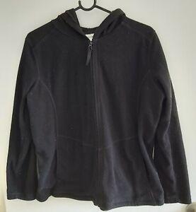 Ladies Black Hooded/Hoodie Polar Fleece Jumper/Jacket sz M by CAPTURE