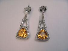 Gorgeous 14K White Gold Trillion Citrine Diamond Drop Earrings