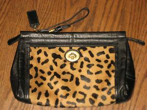 Coach womens leopard clutch purse animal print black trim bag handbag