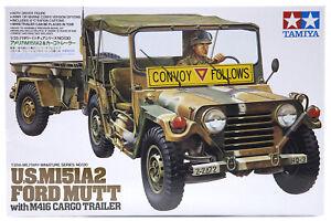 Tamiya 1/35 U.S. M151A2 Ford Mutt w/ M416 Cargo Trailer Scaled Plastic Model Kit