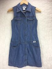 CALVIN KLEIN Blue Denim Button Down Dress Pockets Women's Size 3 Small
