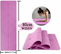 "ALING Yoga Mat with Body Alignment Line 72"" L x 31.5"" W Workout Mat Non Slip wit"