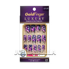 GoldFinger Luxury Fingertips Stone Jewels Design Long Nail Art Glue Kit GFL09