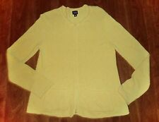 EILEEN FISHER - YELLOW COTTON-BLEND ZIP-FRONT CARDIGAN w/POCKETS - MISSES S