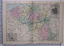 1891 ANTIQUE MAP ~ BELGIUM & LUXEMBURG ANTWERP BRUSSELS FLANDERS BRABANT