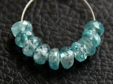 4.5mm. Natural Blue Zircon Faceted Rondelle Gemstone Beads