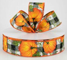 "1.5"" fall wired ribbon black & white buffalo check plaid orange pumpkins 5 yds"