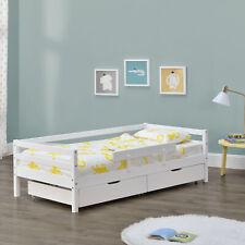 Kinderbett 90x200cm Juniorbett Rausfallschutz Bettkasten Bettgestell Bett Weiß