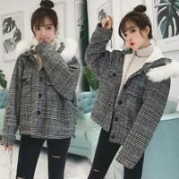 woolen coat Women Autumn Winter Korean Short Faux Fur Hooded Jacket Mix Colors g