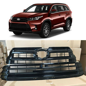Gloss Black Upper Lower Radiator Bumper Grille for 2017 2019 Toyota Highlander