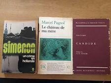 3 VintageFrench Books1963Crime-Simenon-Un Crime en Hollande,1978Voltaire Candide