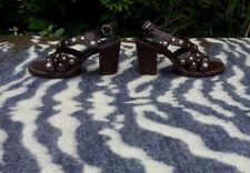 Bronx Brown leather studded high heeled sandals UK 6 EU 39