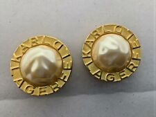 Karl Lagerfeld faux white pearl gold tone clip on earrings rare