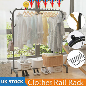 Heavy Duty Clothes Rail Rack Garment Hanging Display Stand Shoes Storage Shelvef