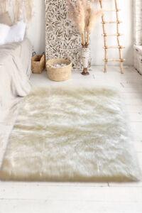 Lambzy FAUX  Rectangular Sheepskin,Silky Shaggy Rug,Soft Touch Fur -CREAM