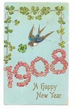 Vintage Greetings Postcard Happy New Year Clover Shamrock Bluebird 1908 Embossed