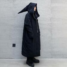 Winter Mens Dark Overcoat Wizard Hooded Chic Full Length Padded Outwear Jacket
